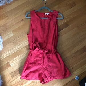 Beautiful boutique red romper. So tropical!